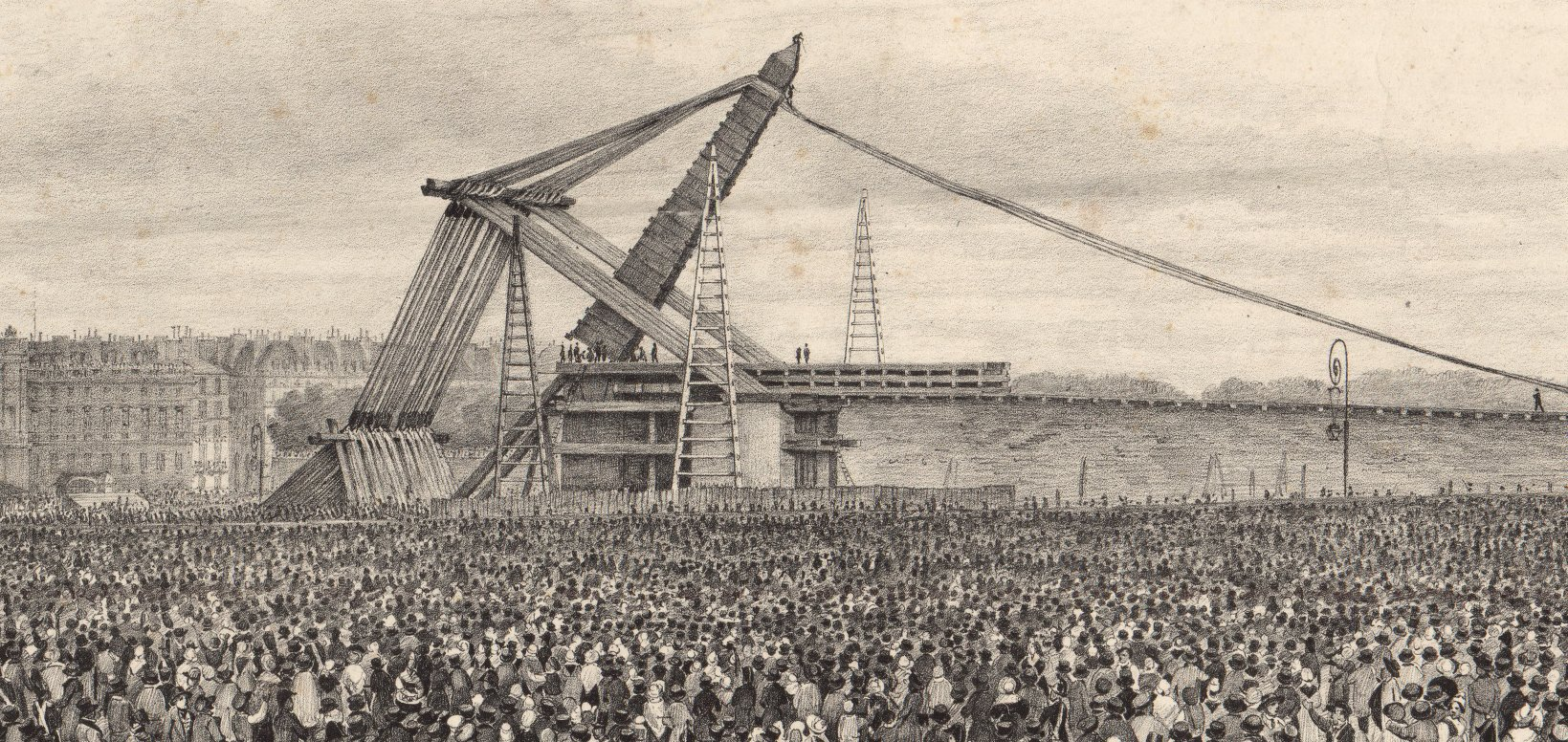 Théodore Jung, Erection de l'Obélisque du Luxor, Le 25 octobre 1836, lithographie, BnF/Gallica