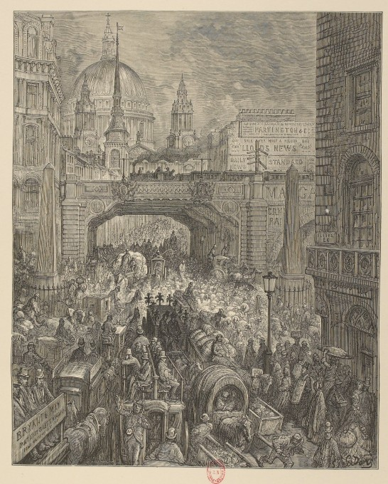 Londres, Ludgate Hill circulation Gustave Doré