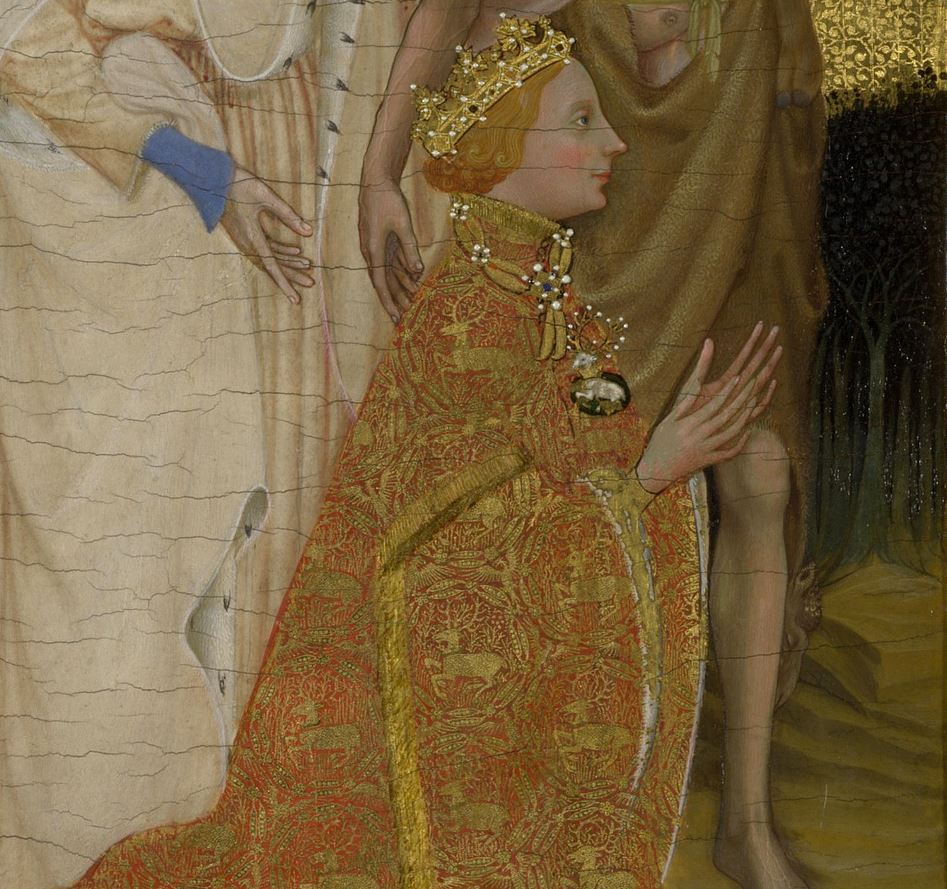 Anonyme (Angleterre ou France), Diptyque Wilton, vers 1395-1399, Londres, National Gallery. Detail.