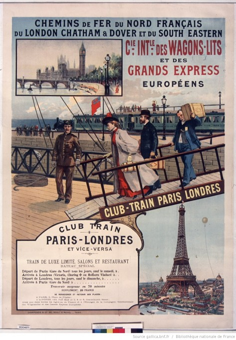 Chemins de fer du Nord français... Club train Paris-Londres et vice-versa..., lithographie, 1895, Gallica/BnF