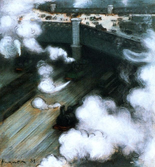 Louis Anquetin, Le Pont de l'Europe, 1889, pastel, collection patriculière