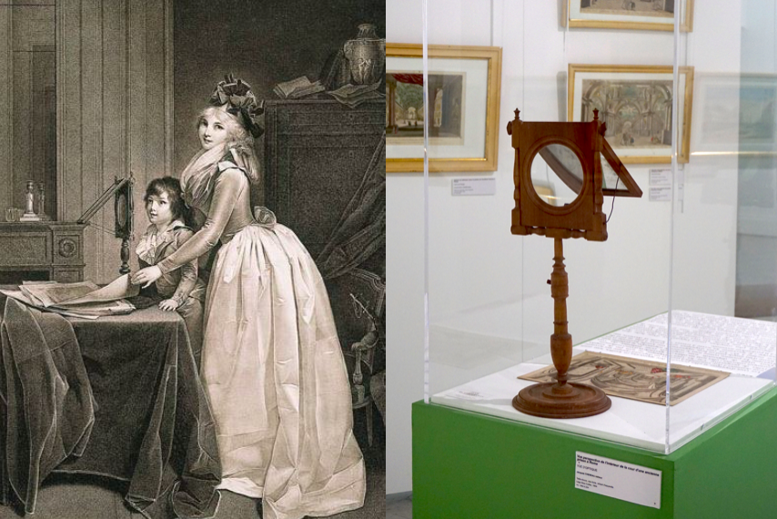 Boilly, l'Optique, estampe, fin XVIIIe siècle. Zograscope, collection privée